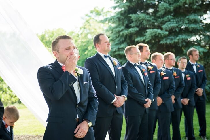 """Nathan went to Macy's for the groomsmen suits and we paid for a portion of the suits so they were comparable with tux rental rates,"" Renee says. ""Our hope was for the guys to pay a rental price yet walk away from our wedding with a new, fitted suit."""
