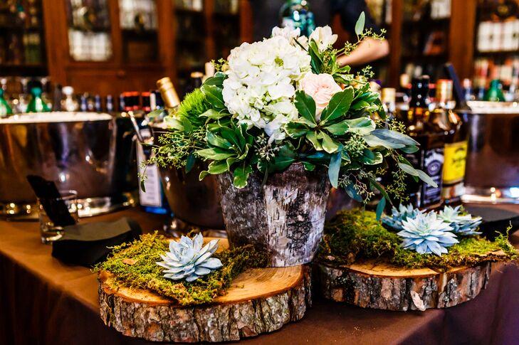 Natural Birch Wood And Succulent Flower Arrangements