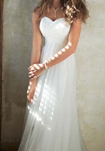David 39 s bridal galina style wg3438 wedding dress the knot for Wedding dress with swag sleeves