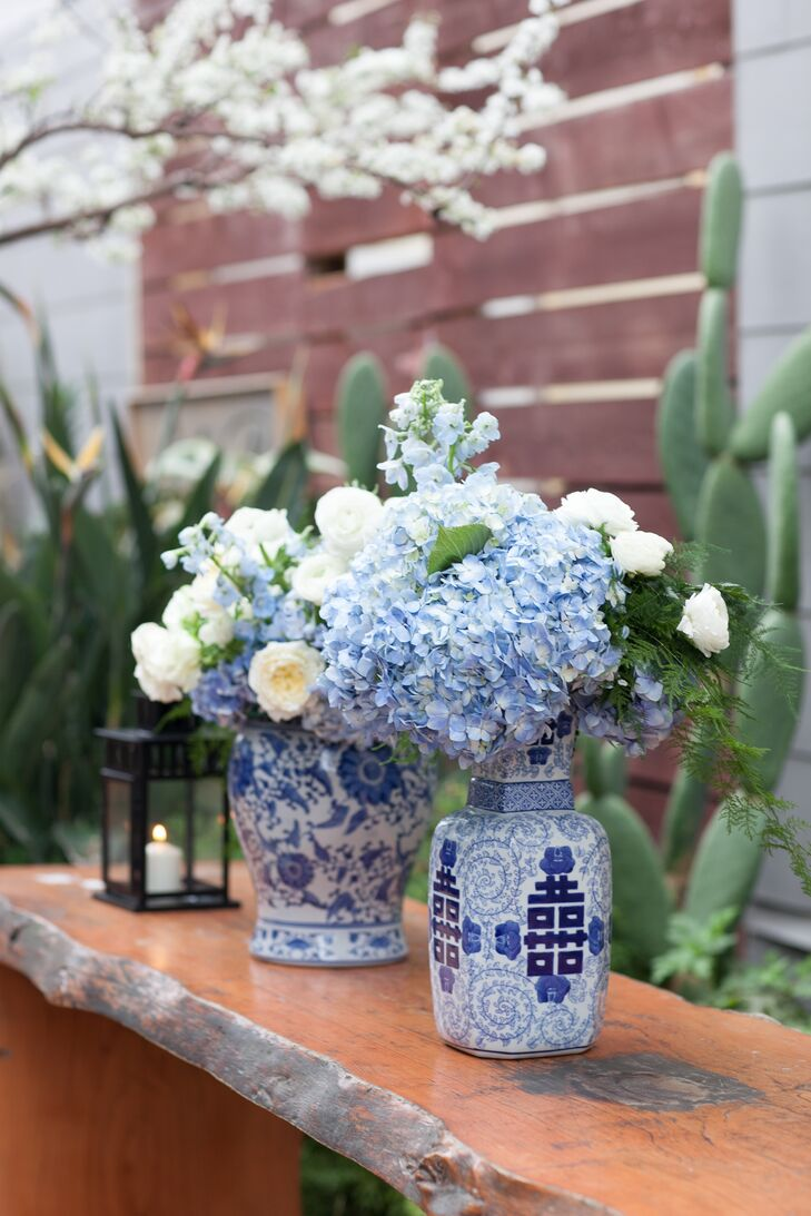 """As a wedding coordinator myself, I found pinning down a specific theme or color fairly difficult. There were so many directions I could take it! My love for blue and white ginger jars has remained pretty consistent through my life and I knew I wanted to incorporate them,"" says Lauren."