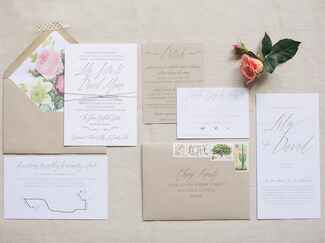 Tan and pink wedding stationery