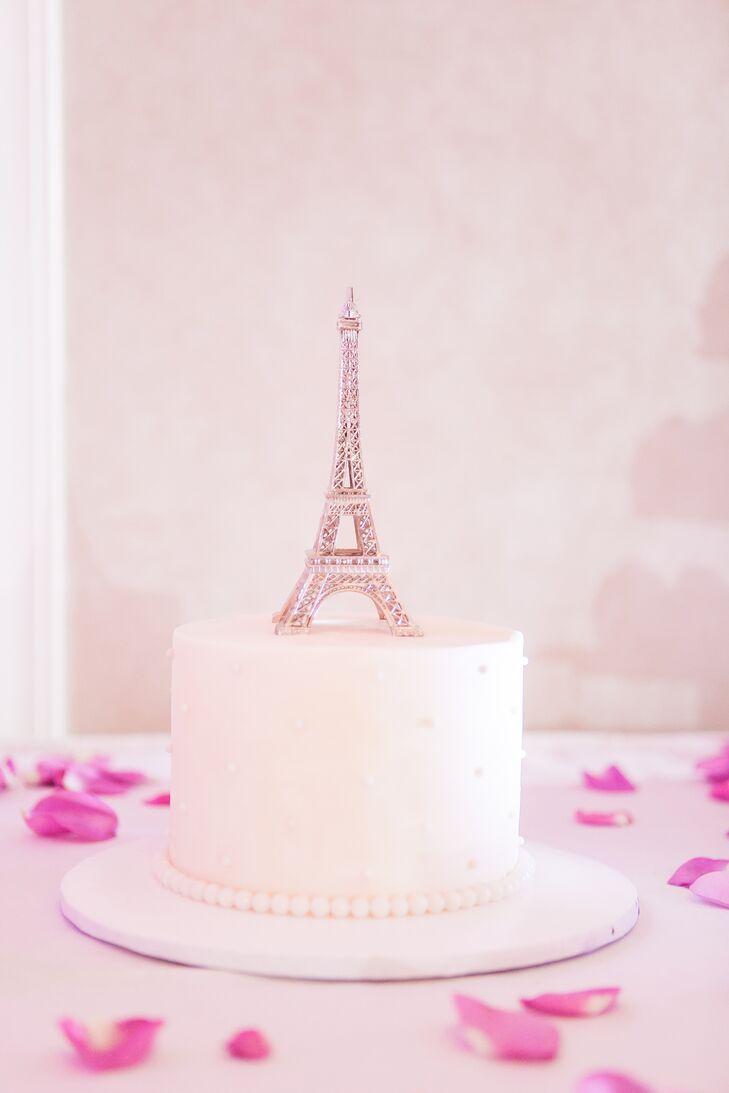 Eiffel Tower-Topped White Buttercream Wedding Cake