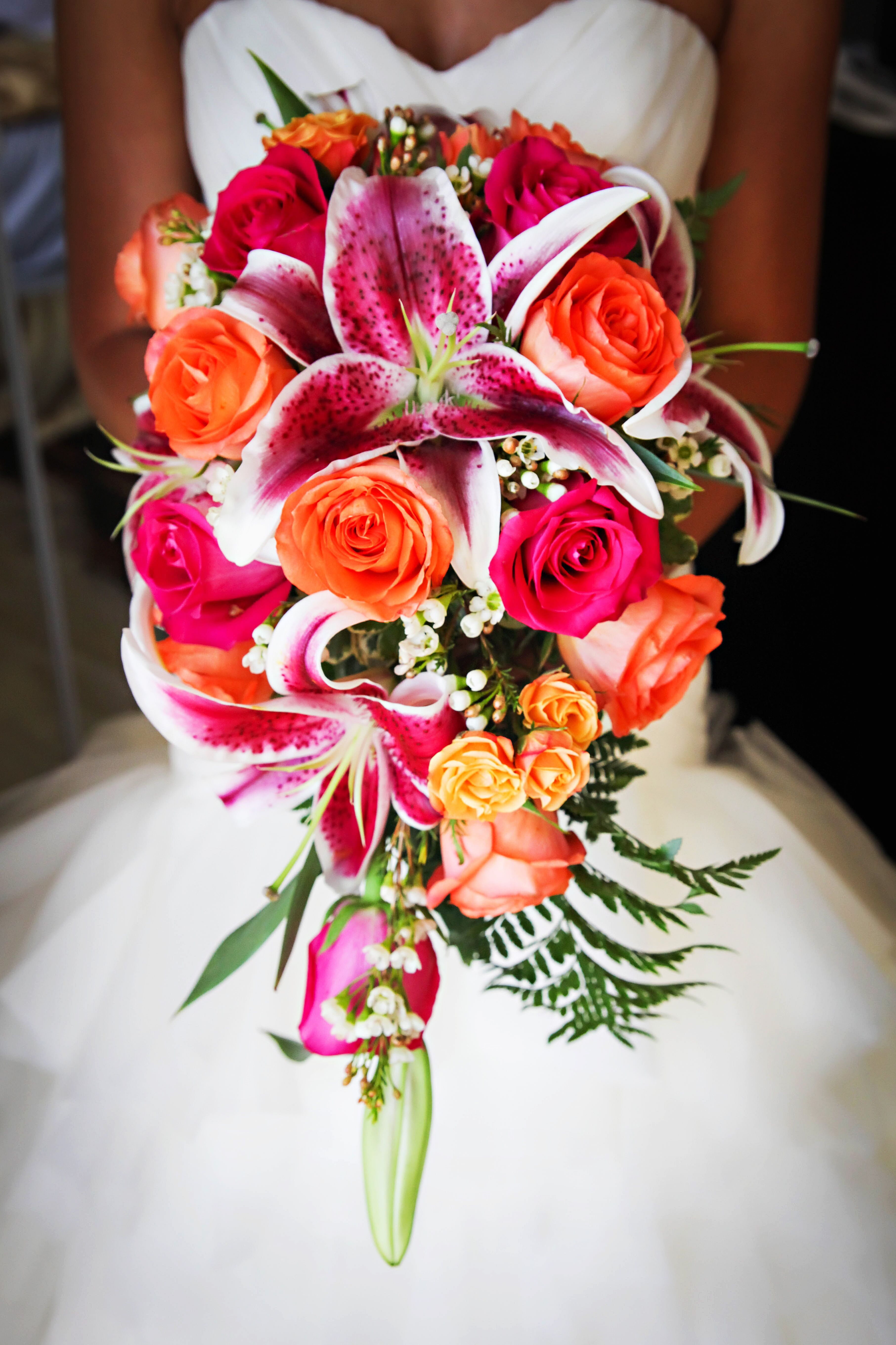 Stargazer Lily And Hot Pink Rose Bouquet
