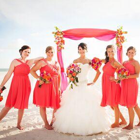 Vibrant Guava and Purple Wedding Arch
