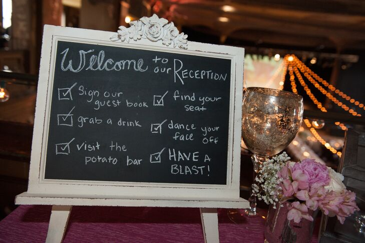 DIY Framed Chalkboard Reception Sign