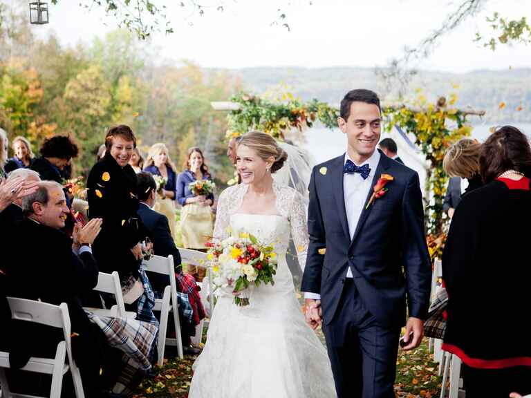 Bride and groom fall wedding recessional