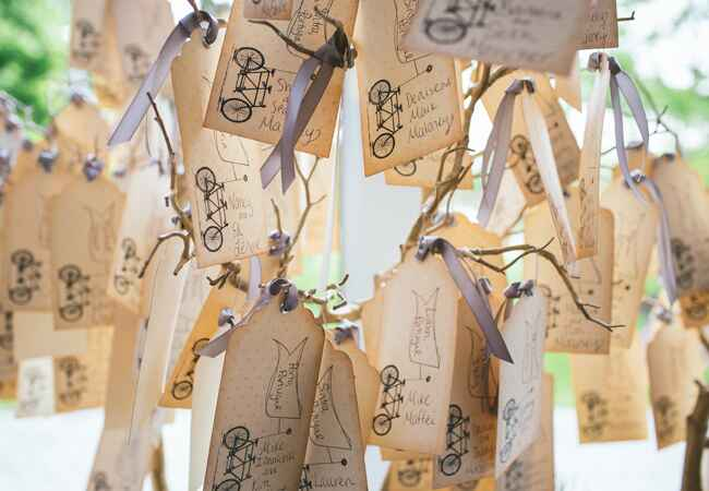 DIY stamped wedding decor: Hudson River Photographers / TheKnot.com