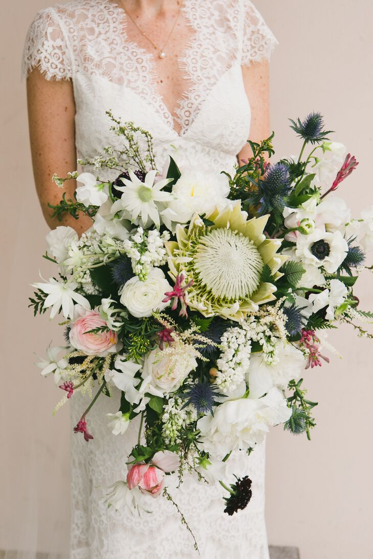 Cascading King Protea, Rose and Thistle Bouquet