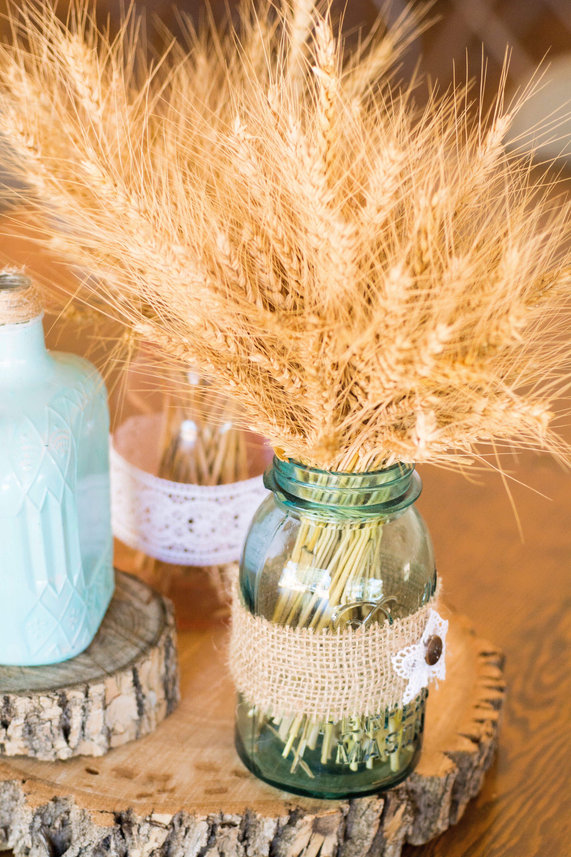 Dried Wheat In Mason Jar Wedding Centerpieces
