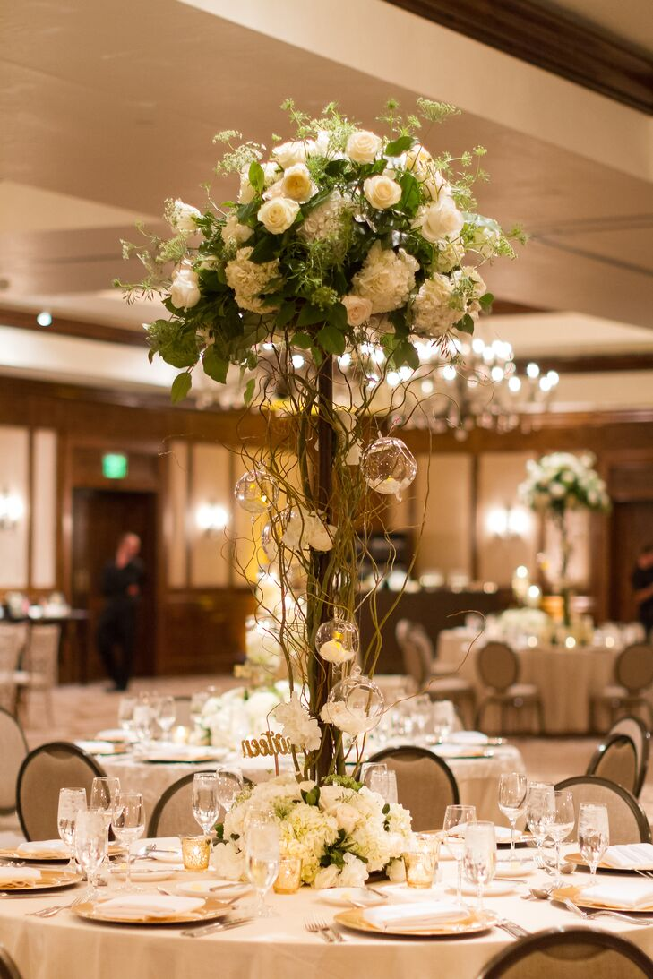 Tall hydrangea and garden rose centerpiece