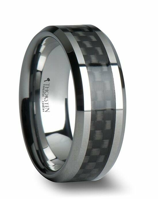 Larson Jewelers MAXIMUS Black Carbon Fiber Inlay Tungsten Carbide Wedding Band - 4mm - 12mm Wedding Ring photo
