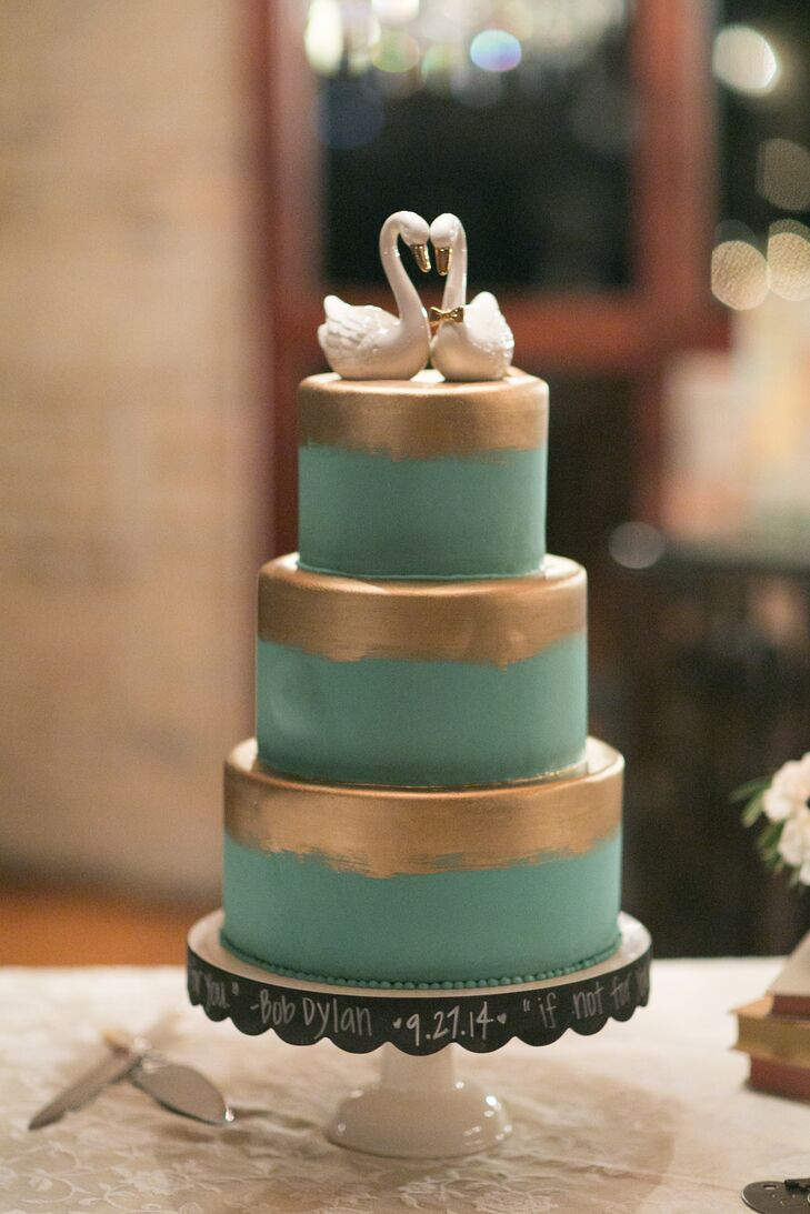 Gold-Brushed Turquoise Wedding Cake
