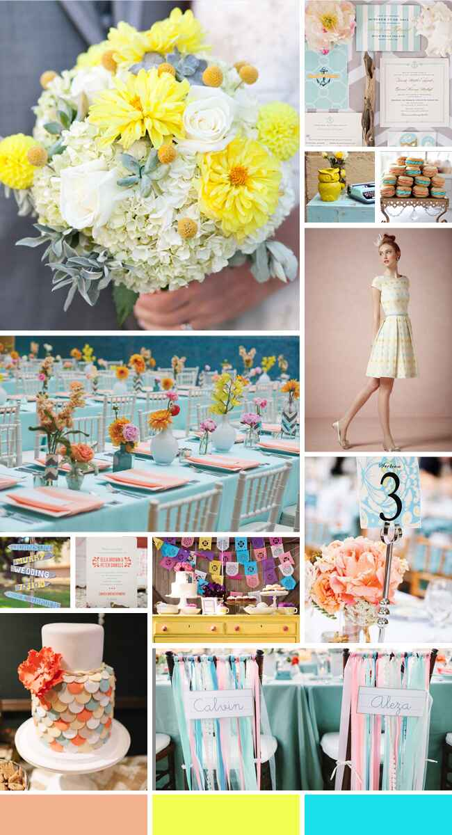 A Whimsical Wedding Color Palette of Aqua, Peach and Yellow
