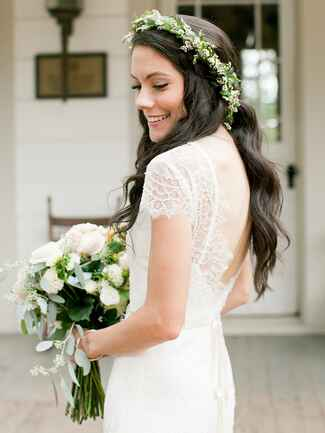 Wedding flower crown made of small white blooms