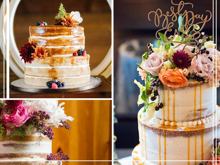 Simple cakes with a touch of blooms and greenery