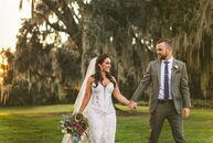 Using deeply hued flowers and touches of oxblood, sage, blush, gold and navy, insurance agency owners and agents Carissa Shamehdi (30) and Ric Cave (3