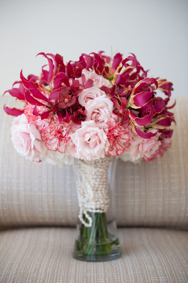 Pink Gloriosa Lily Carnation And Rose Bouquet