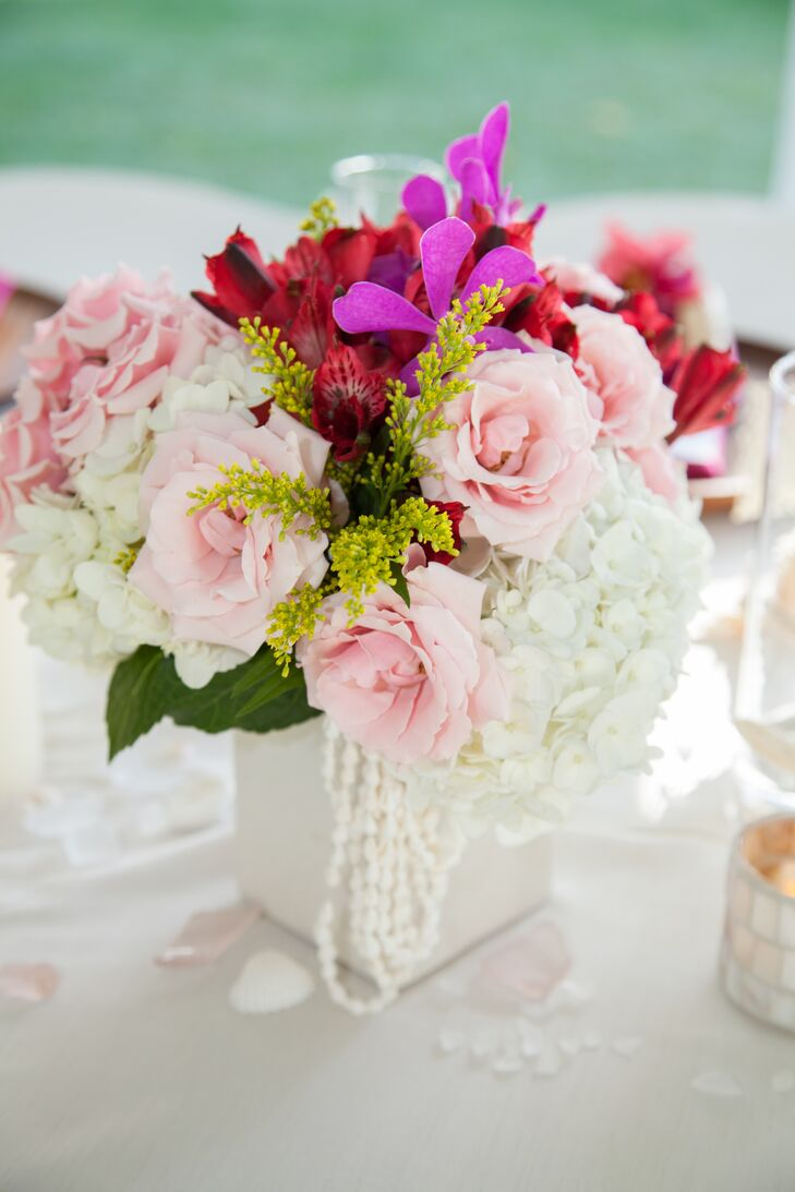 Pink red and white flower arrangement mightylinksfo