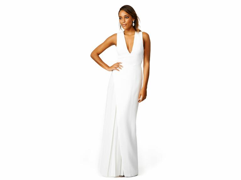 White maxi dress with slit and deep v neckline
