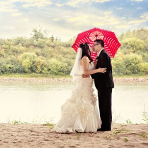 Red umbrella inn wedding