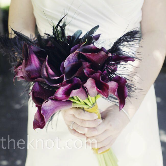 Diy Feather Bouquets Weddings: Calla Lily And Feather Bouquet