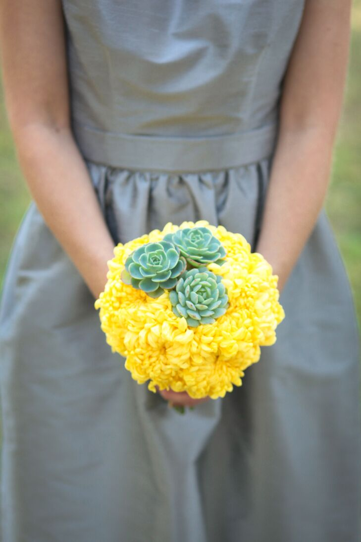 Yellow Chrysanthemum and Succulent Bridesmaid Bouquet