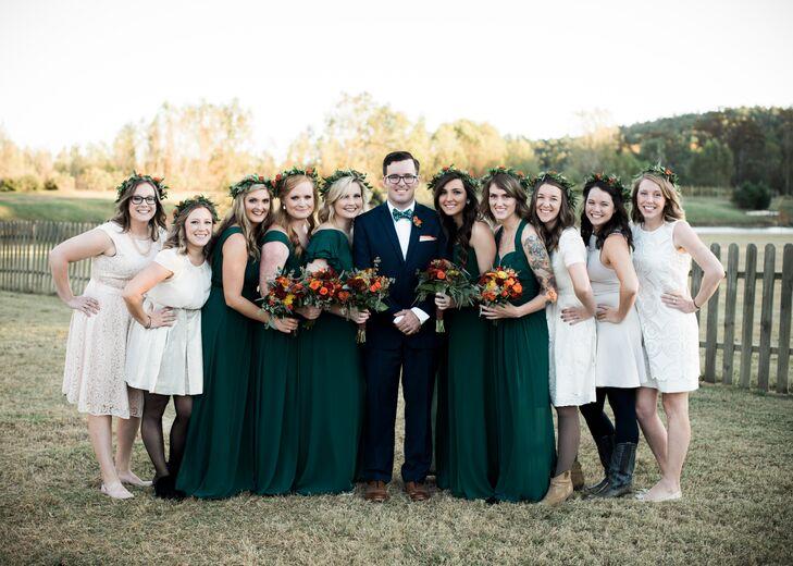 Dark Green, Blue and Cream Wedding Party
