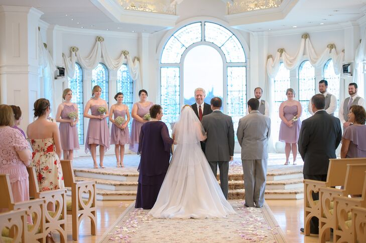 Each Of The S Bridesmaids Wore A Lilac Dress By Alfred Angelo In Their Chosen Style