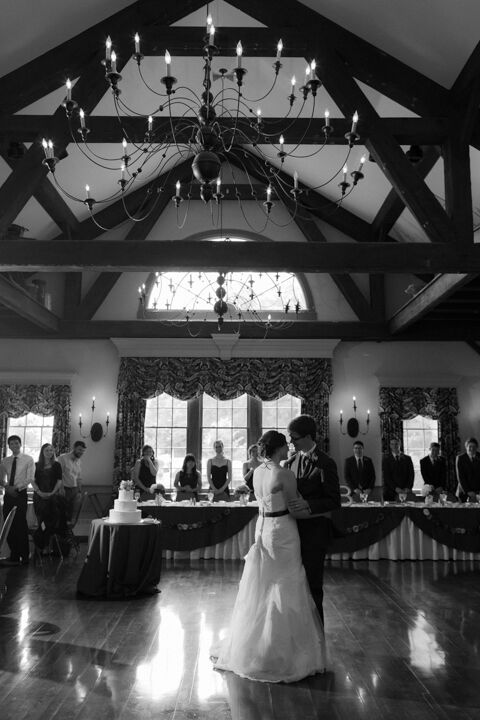 We love this romantic black and white photo of Hannah and Barrett dancing at their reception. And how pretty is that chandelier?