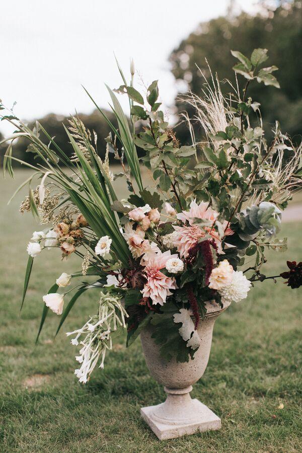 Fall wedding flower arrangements greenery and blush pink flower arrangement mightylinksfo