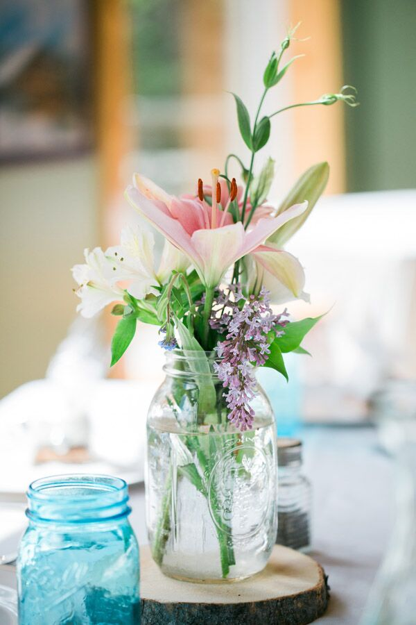 Wooden And Mason Jar Centerpieces