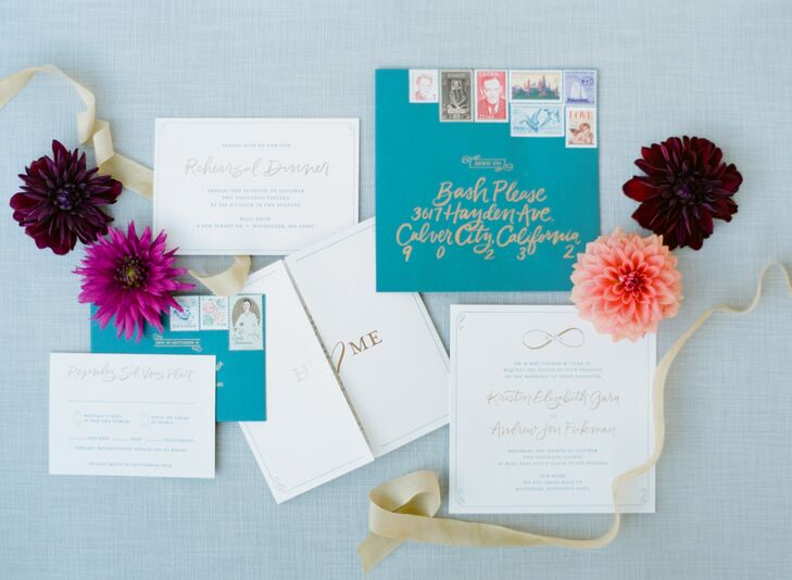 Turquoise and Gold Custom Wedding Invitations