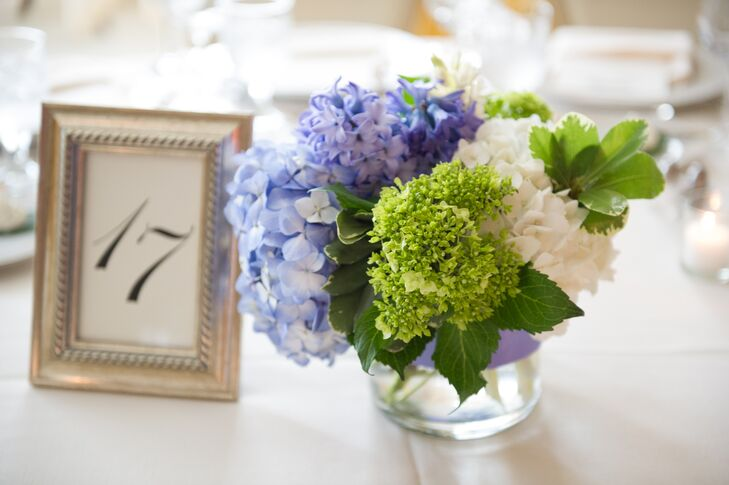 Green blue and white centerpieces