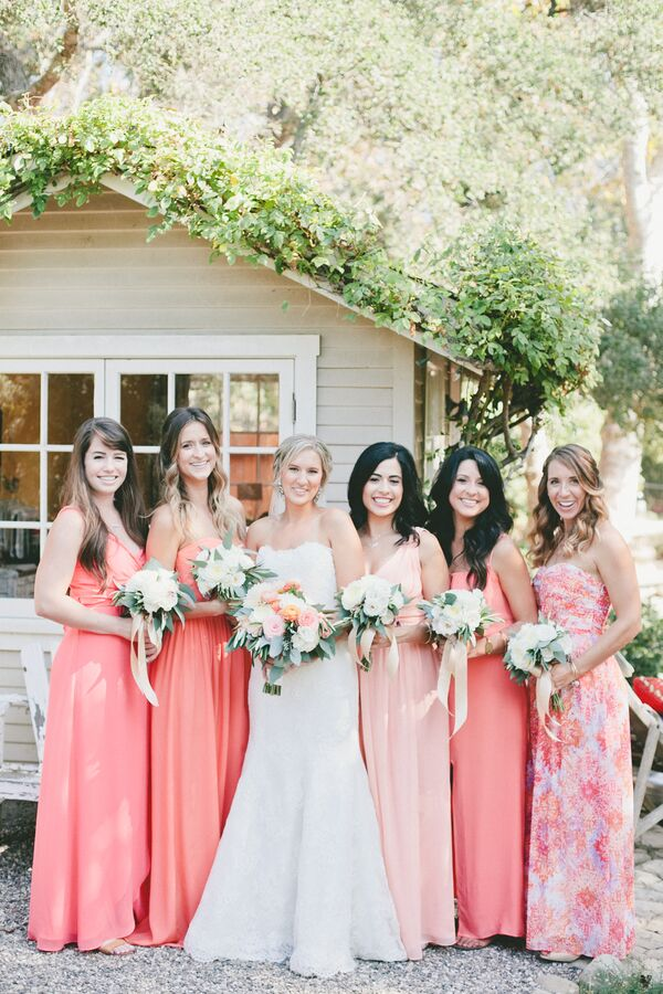 Floor-Length Coral Bridesmaid Dresses
