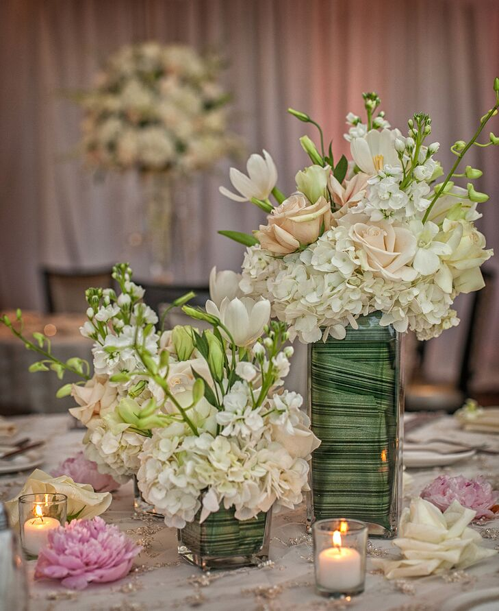 Low green and white floral centerpieces