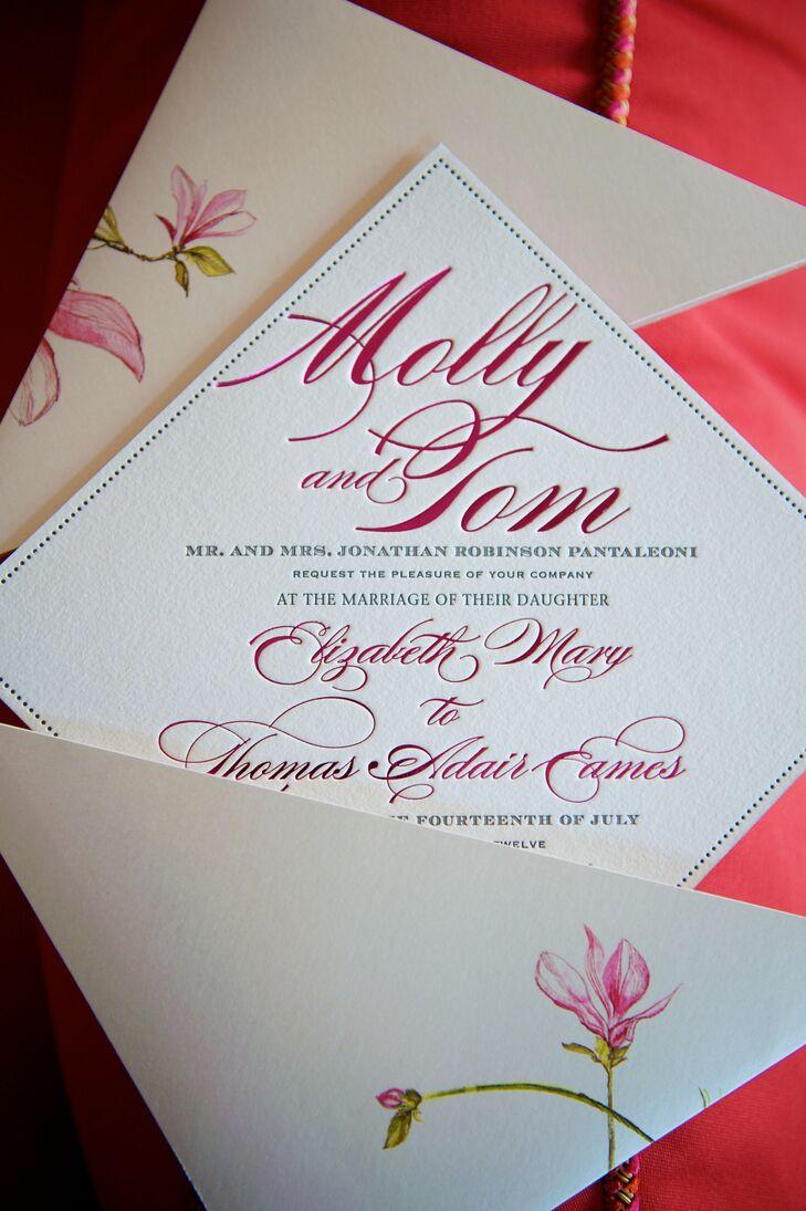 Diamond Shaped Wedding Invitation