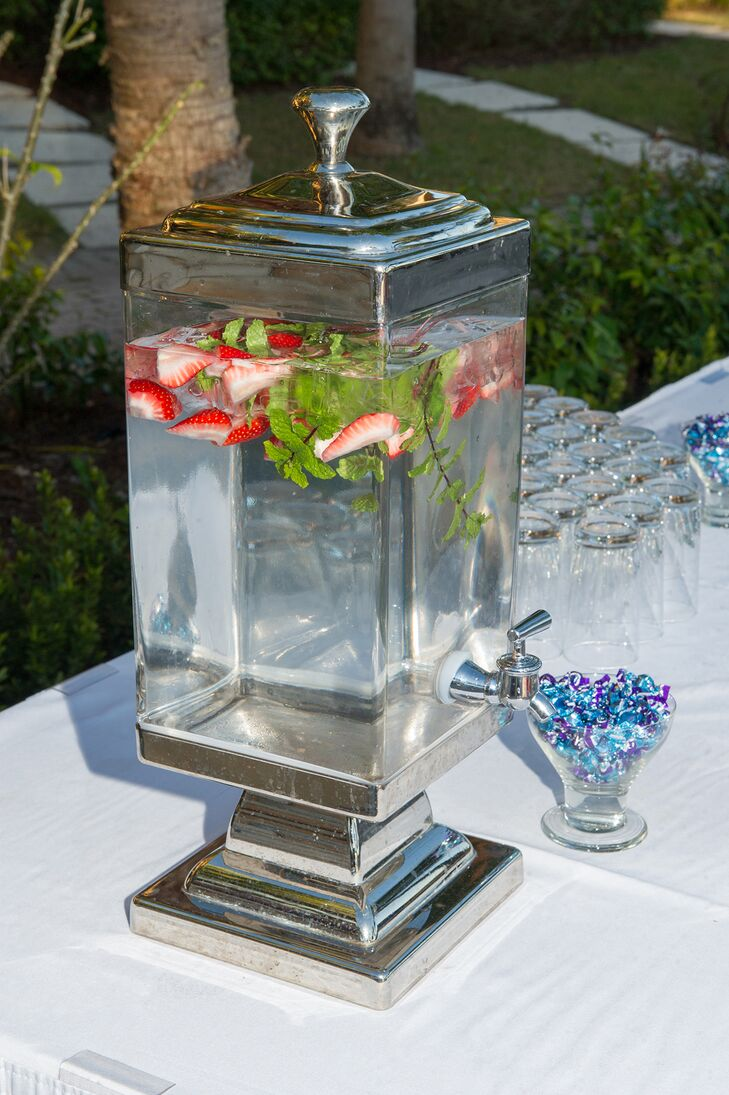 Strawberry-Infused Water in Silver Dispenser