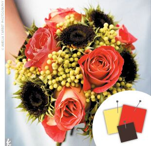 Wedding Color Combo Orange Chartreuse Brown