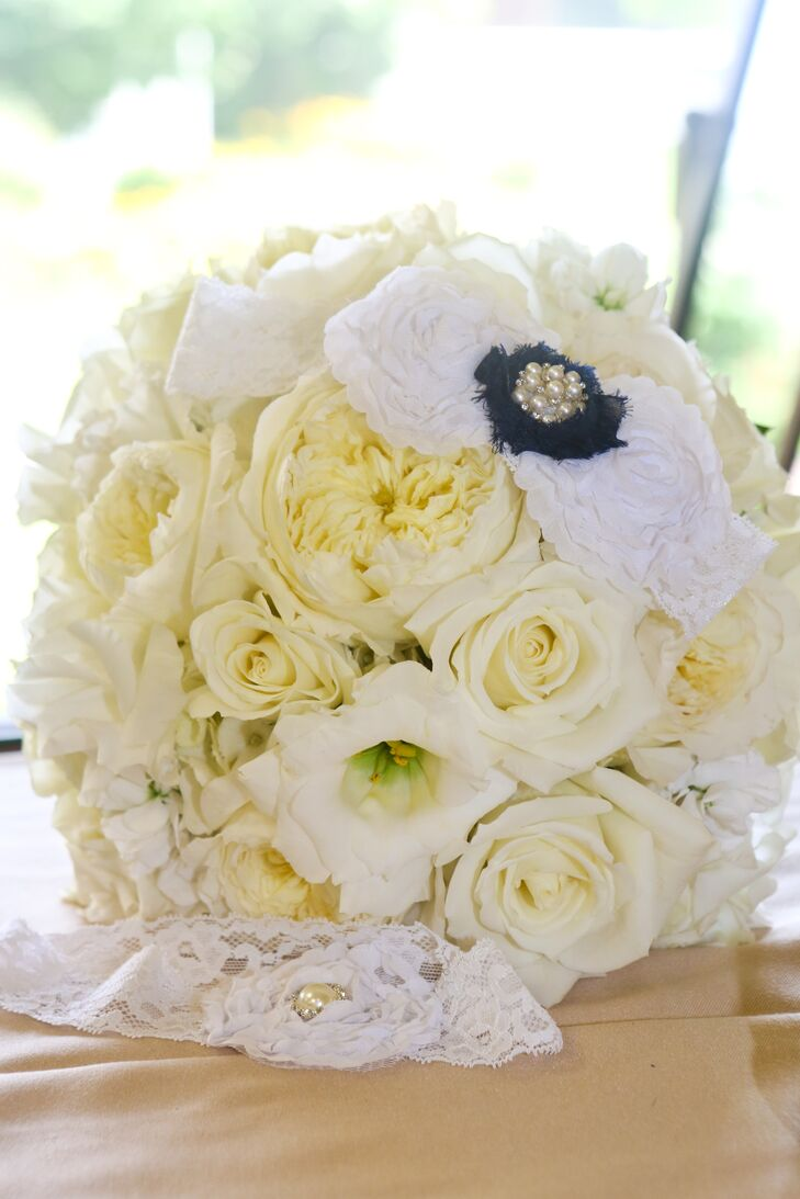 White Bouquet With Navy And White Brooch