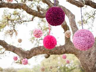 Hanging floral pomander ceremony decor