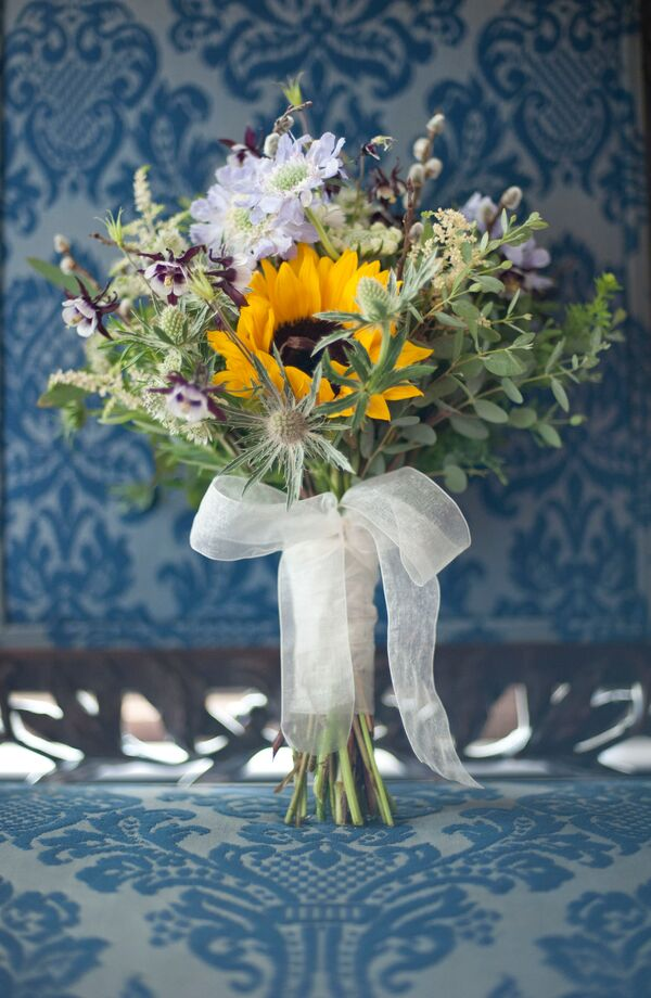 Bouquet With Thistles and Sunflowers