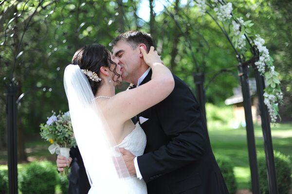 First Kiss at Branford, Connecticut, Wedding