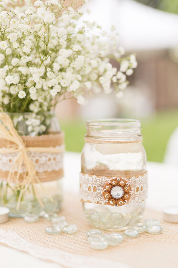 Burlap and Lace Wrapped Mason Jar Centerpieces