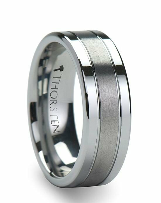 Larson Jewelers CHRONOS Flat with Offset Grooves Polished Edges and Satin Center Tungsten Band 6mm & 8mm Wedding Ring photo