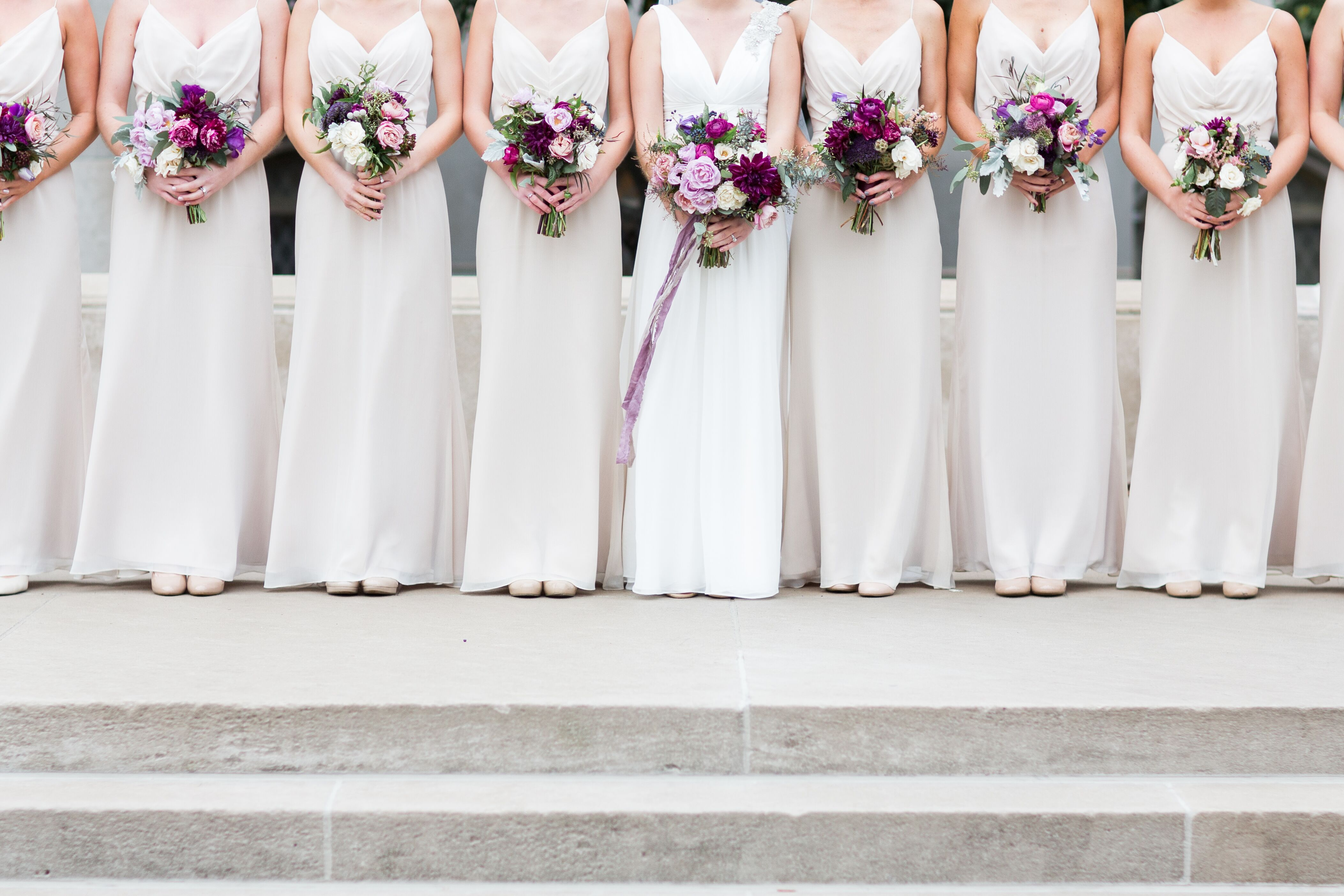 Champagne Bridesmaid Dresses And Black Groomsmen Tuxedos