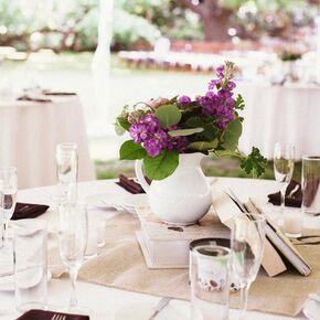 Diy purple wedding decorations accents vintage book and purple wildflower centerpieces junglespirit Images