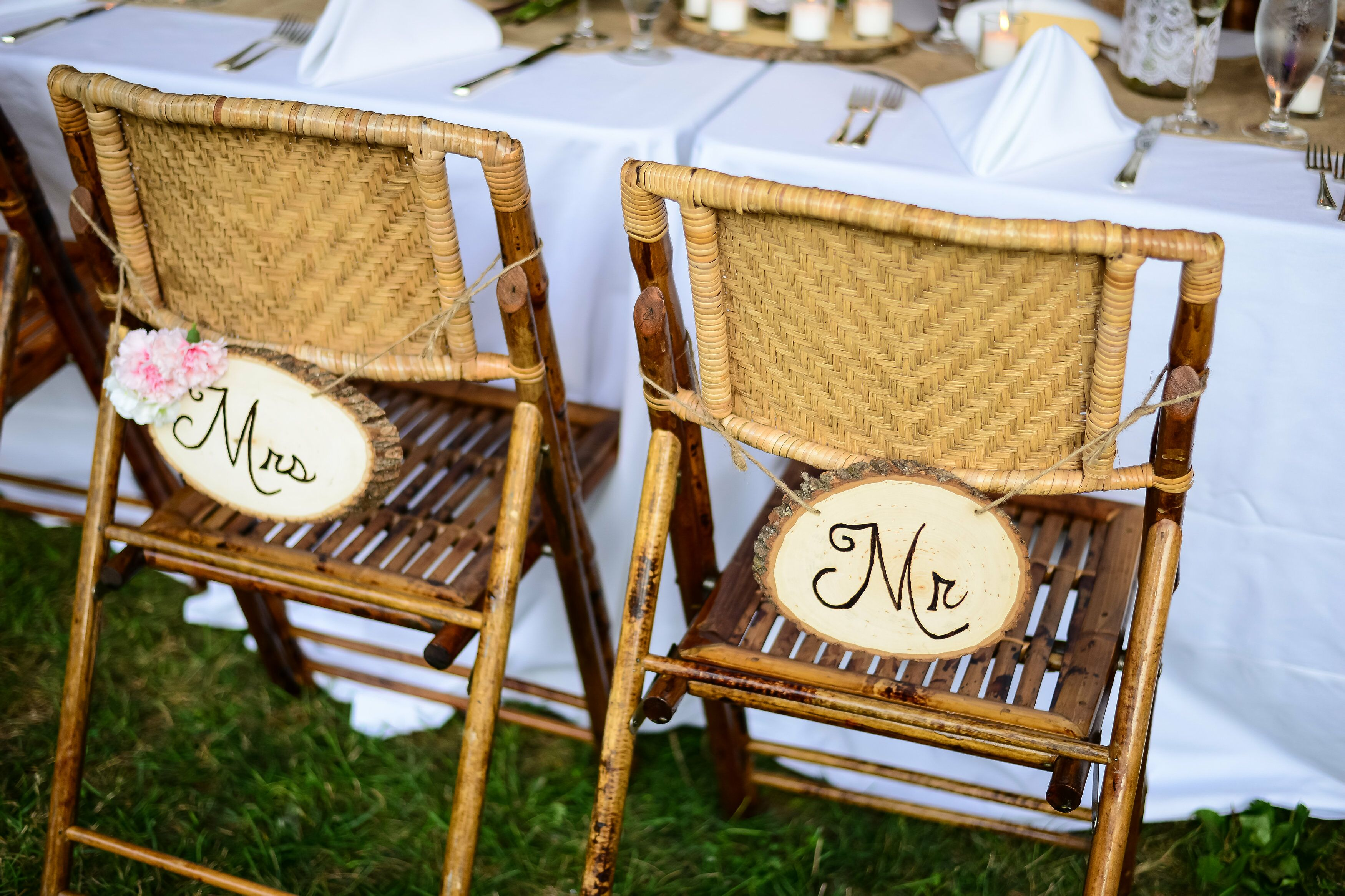 DIY Burned Wood Mr. And Mrs. Chair Signs