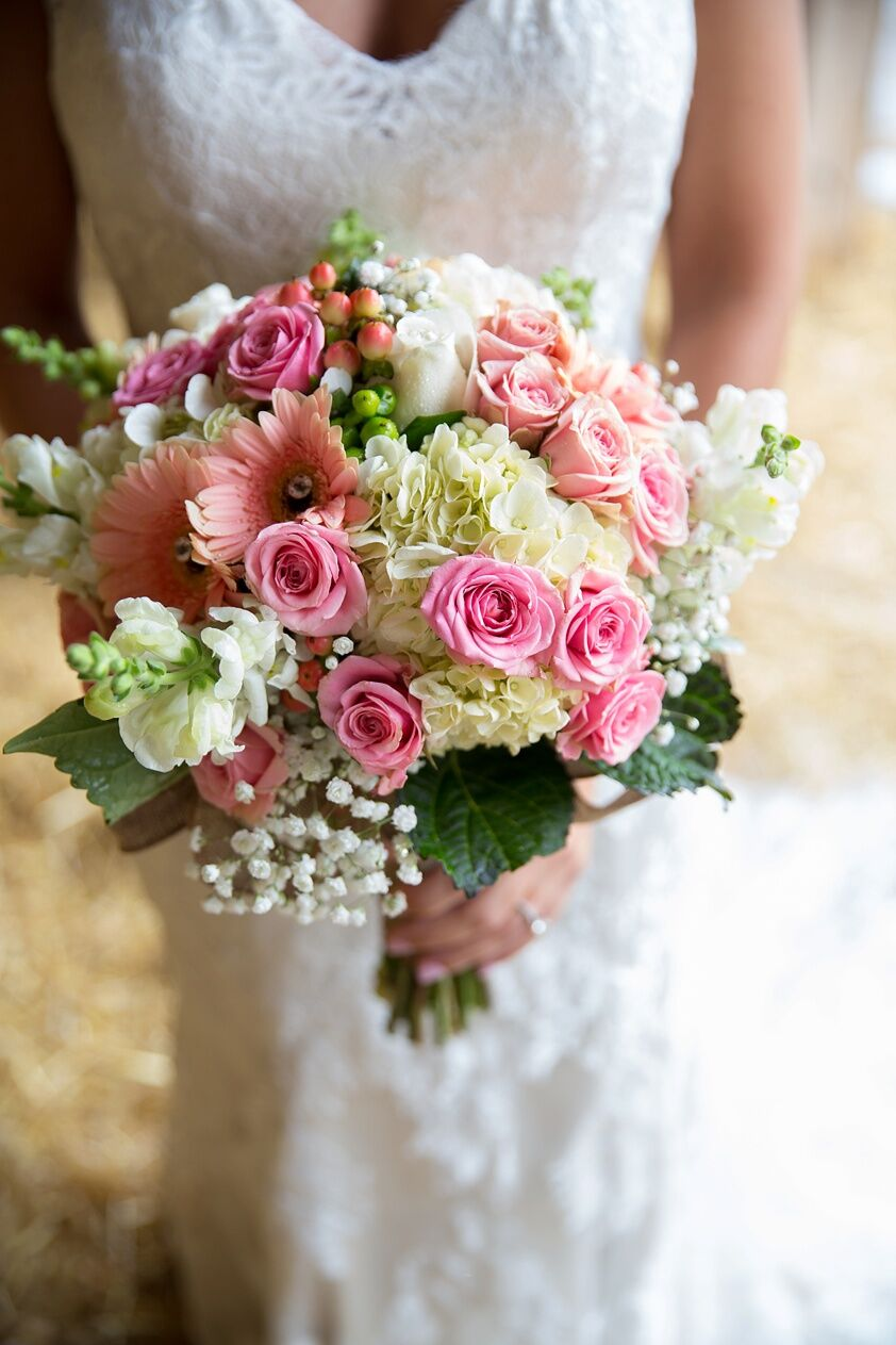 pink rose and gerbera daisy bridal bouquet