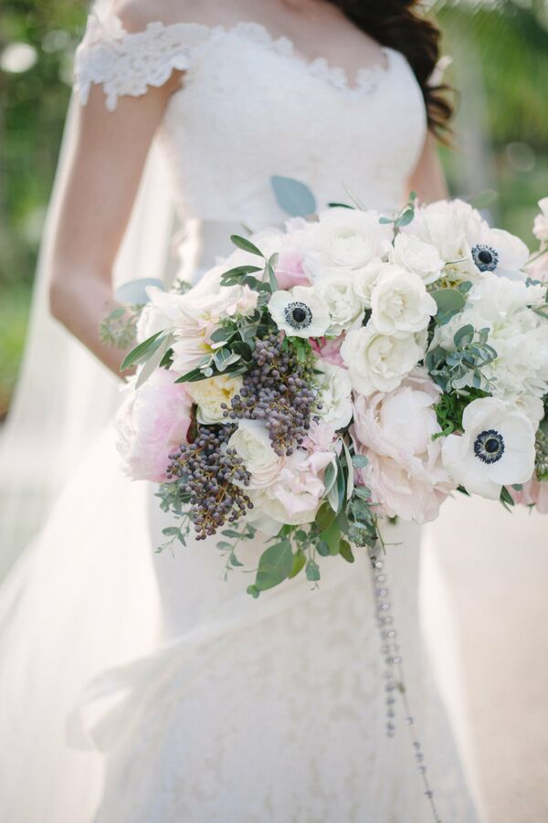 Full Bouquet with Anemones, Peonies and Greenery