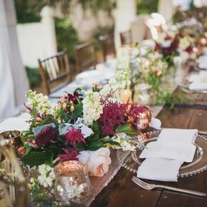 Fall wedding centerpieces burgundy astilbe rose and stock centerpiece junglespirit Images